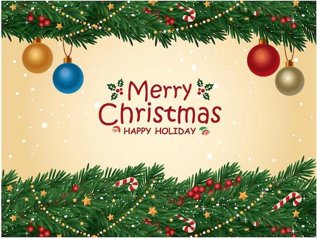 Vintage christmas poster design with vector christmas tree