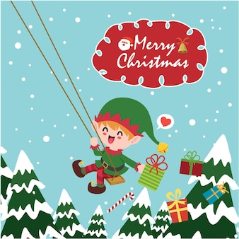 Vintage christmas poster design with vector elf santa claus characters