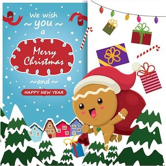 Урожай рождественский дизайн плаката с векторными пряничный человечек санта-клауса символов