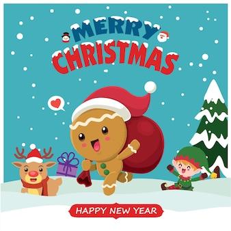 Урожай рождественский дизайн плаката с вектором пряничный человечек санта-клаус снеговик эльф