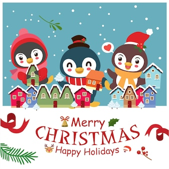 Vintage christmas poster design with vector penguin snowman reindeer santa claus characters