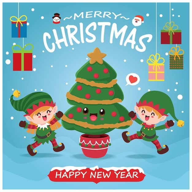 Vintage christmas poster design with vector santa claus snowman elf tree characters