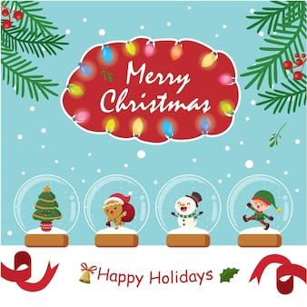 Урожай рождественский дизайн плаката с векторным деревом пряничный человечек снеговик эльф санта-клаус характер