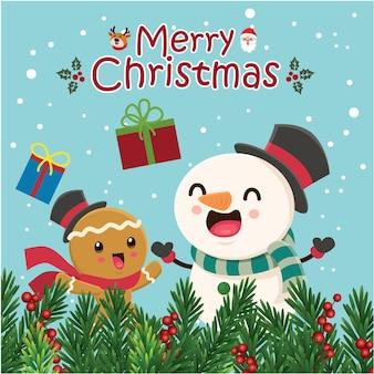 Урожай рождественский дизайн плаката с векторным деревом пряничный человечек снеговик санта-клаус оленей