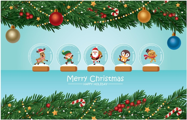 Vintage christmas poster design with vector tree santa claus in crystal ball