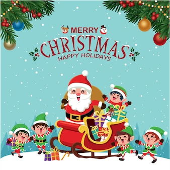 Vintage christmas poster design with vector tree santa claus elf characters