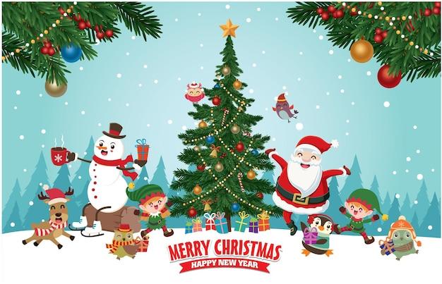 ベクトルツリーとヴィンテージクリスマスポスターデザインサンタクロースエルフトナカイフクロウペンギン雪だるま