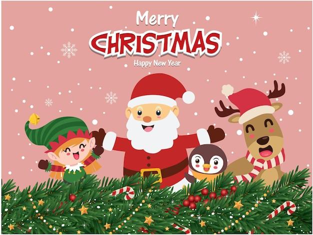 Vintage christmas poster design with vector tree santa claus elf reindeer penguin characters