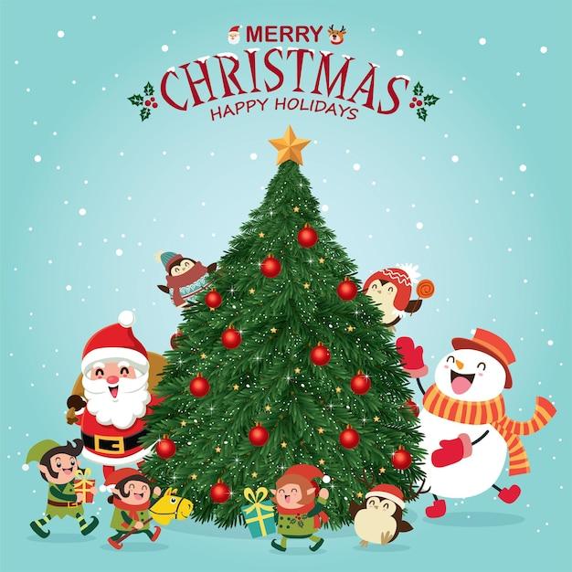 Vintage christmas poster design with vector tree santa claus elf reindeer penguin snowman