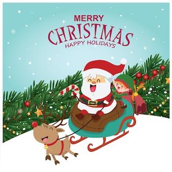 Vintage christmas poster design with vector tree santa claus elf reindeer