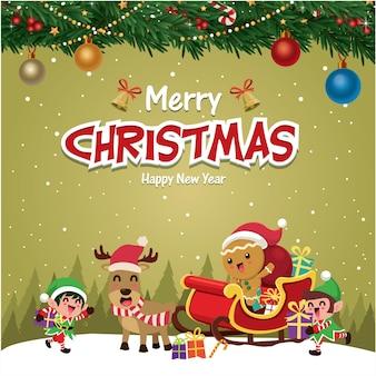 Старинный рождественский дизайн плаката с векторным деревом санта-клауса пряничный человечек эльф оленей