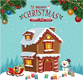 Vintage christmas poster design with vector tree santa claus reindeer snowman candy house