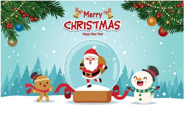 Урожай рождественский дизайн плаката с векторным деревом санта-клаус снеговик пряничный человечек символов