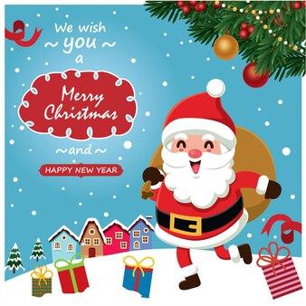 Старинный рождественский дизайн плаката с векторным деревом санта-клауса