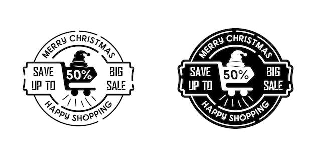 빈티지 크리스마스 프로모션 라벨 배지 쇼핑 할인 로고 스탬프 디자인 템플릿 영감