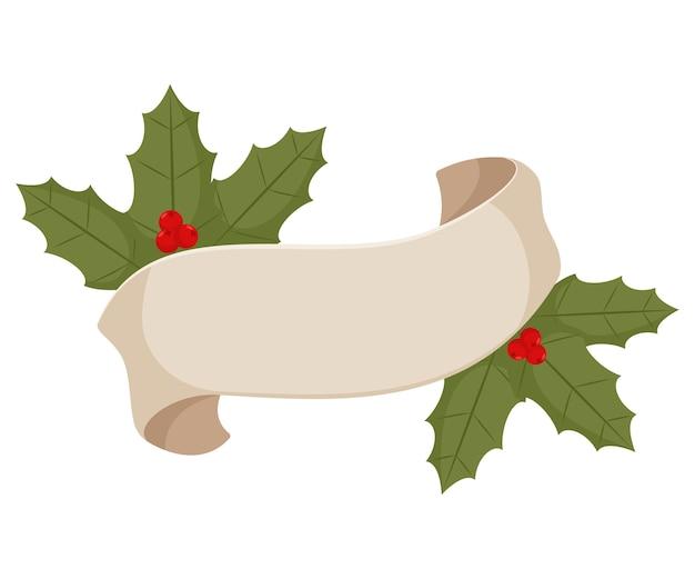 ホリーベリーとビンテージのクリスマスリボンバナー。白い背景のイラスト。