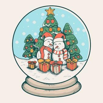 빈티지 크리스마스 눈덩이 글로브