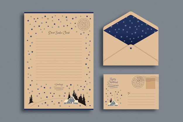 Vintage christmas stationery template
