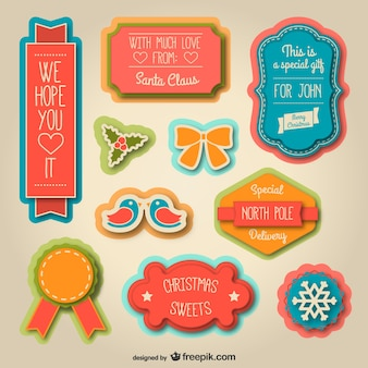 Vintage christmas stickers pack