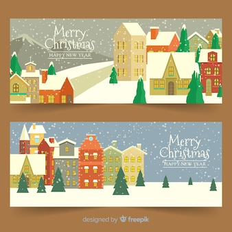 Vintage christmas town banners pack