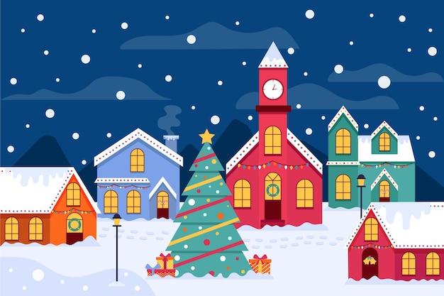ヴィンテージのクリスマスの町のイラスト