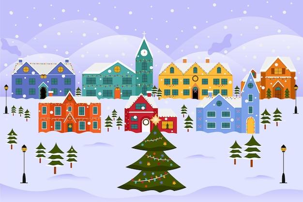 빈티지 크리스마스 마을 그림