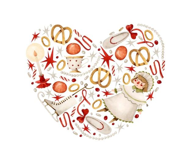 ヴィンテージのクリスマスのおもちゃのハート型の水彩イラスト