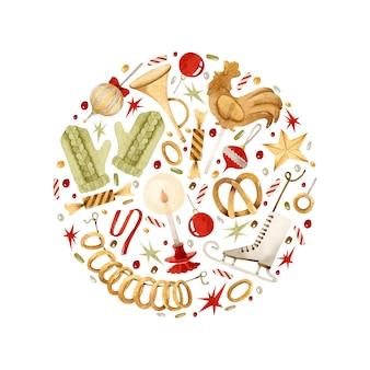 ヴィンテージのクリスマスのおもちゃの丸い形の水彩イラスト