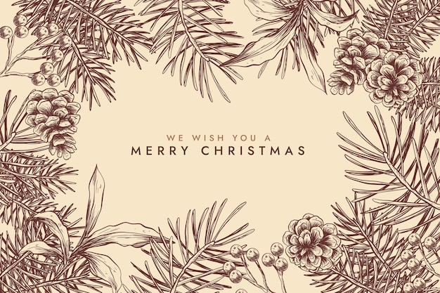 Vintage christmas tree branches background