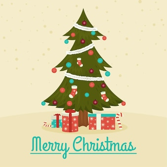 Premium Vector Vintage Christmas Tree Illustration With Gifts