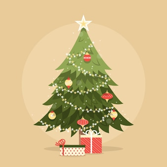 Винтажная рождественская елка с подарками