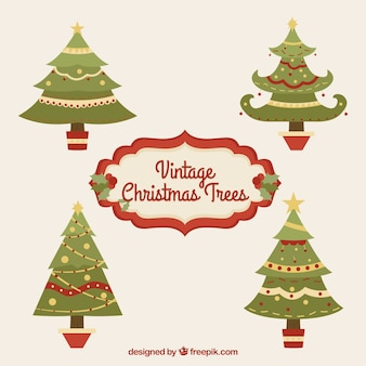 Старинная рождественская елка в плоском дизайне