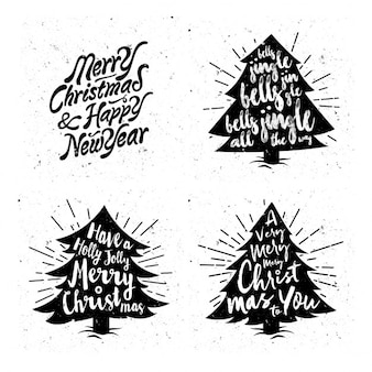 Vintage christmas tree silhouettes with messages