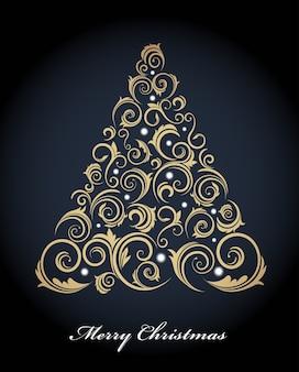 진한 파란색 배경에 복고풍 황금 장식으로 빈티지 크리스마스 트리. 일러스트 템플릿