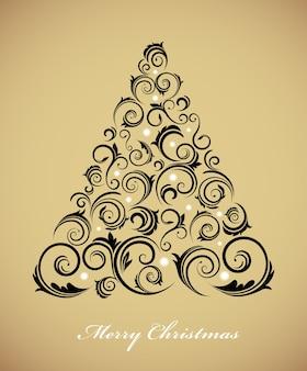 Старинная рождественская елка с ретро-орнаментом на золотом фоне. иллюстрация