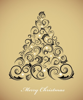 Vintage christmas tree with a retro ornament on a golden background.  illustration