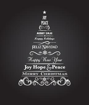 テキストとスクロール要素を持つヴィンテージのクリスマスツリー