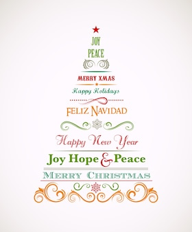 Vintage christmas tree with text greetings