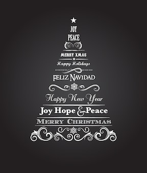 Vintage christmas tree with text and scroll elements