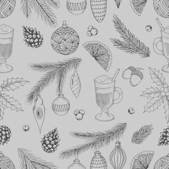 빈티지 크리스마스 벡터 일러스트 레이 션. 손으로 그린 콘, 크리스마스 트리, 크리스마스 공이 있는 매끄러운 패턴입니다.