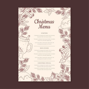 Vintage christmas vertical menu template
