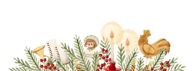 松の枝人形キャンドルスケートやおもちゃとヴィンテージクリスマス水彩ボーダー