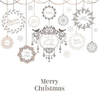 Vintage christmas wreath design, winter holiday calligraphic card, vector page typography decoration, ornate, swirls, filigree, old label collection, wedding frame, elegant golden foliage set