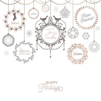 Винтажный рождественский венок дизайн, зимняя праздничная каллиграфическая открытка, украшение типографии вектор страницы, богато, сучки, филигрань, коллекция старых этикеток, свадебная рамка