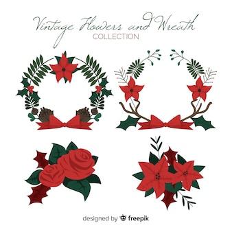 Vintage christmas wreaths set
