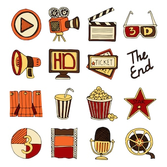Vintage cinema filmmaking studio and movie theater color icons set with tape bobbin abstract isolated vector illustration