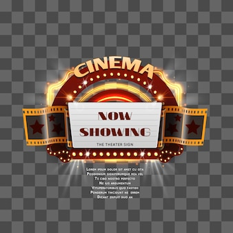Vintage cinema sign show time isolated