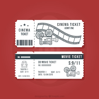 Vintage cinema tickets set