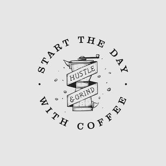 Идеи логотипа винтажной круговой кофемолки