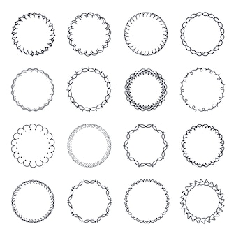 Vintage circle frame vector set